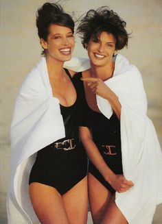 Christy Turlington & Linda Evangelista by Patrick Demarchelier for Vogue, 1990