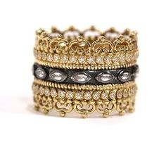 Armenta Old World 18 Karat Yellow Gold, Oxidized Sterling Silver, Diamond & White Sapphire Wide Band Ring