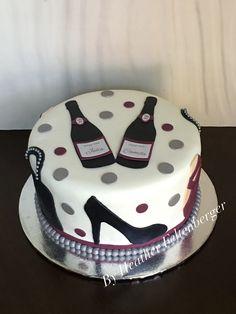 Wine, fashion, high heels, purses, ballet slipppers, adult woman birthday cake