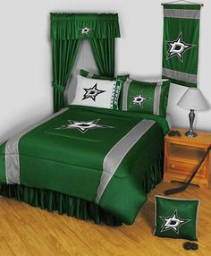 #oBedding - #Sports Coverage Dallas Stars Twin Comforter - NHL Hockey Team Logo Bedding - AdoreWe.com