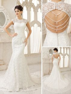 Ivory Mermaid Jewel Neck Cut Out Court Train Wedding Dress - Milanoo.com (I could say yes to the dress.... easily!!! ♥)