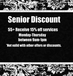 Senior discount offered at @Danielle Lampert Robinson salon & spa in Minneapolis