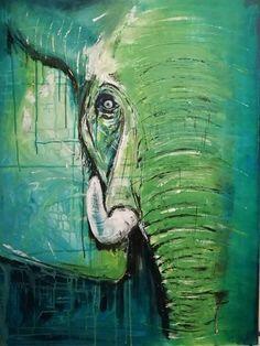 Green elephant, wildlife, abstract, colorful, painting, paint, original, beautiful, tusk, big, interior design