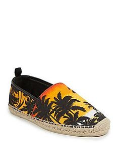 Saint Laurent Tropical Espadrille FlatsCanvas espadrilles in tropical sunset motif Slip-on style Cotton Canvas upper with leather trim Leather lining Padded insole