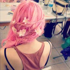 braids, flowers, hair, pink hair