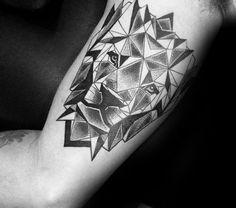 Geometric Lion Tattoos Men Inner Arm Bicep