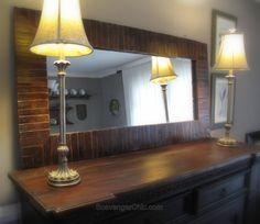 Pier 1 Inspired Pallet Wood Mirror Wood Mirror, Diy Mirror, Wood Pallets, Pallet Wood, Pallet Ideas, Black Dog Salvage, Mirror Inspiration, Mirror Makeover, Baby Gates