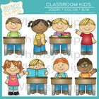 The Classroom Kids clip art pack contains 30 image files, which includes 15 color images and 15 black  white images in both png and jpg format...
