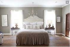 I saw this on Fixer Upper episode. This will be my Master Bedroom color. Excited!!! Color on wall is : Sherwin Williams - **Intellectual Gray**