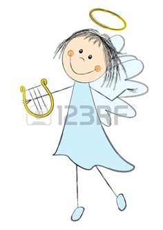Cute angel with a harp Stock Photo - 21424141