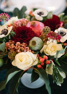 Rich Red Winter Wedding Floral Arrangement Inspiration - The Celebration Society