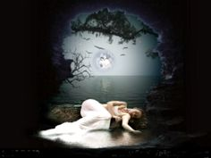 Image detail for -Lonely In The Moonlight, beautiful, moon, night, sad, woman