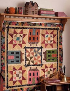 "Saltbox Sampler from ""Simple Charm: 12 Scrappy Patchwork and Applique Quilt Patterns"" by Kim Diehl. Scrappy Quilt Patterns, Applique Quilt Patterns, Scrappy Quilts, Mini Quilts, Primitive Quilts, Hanging Quilts, Quilted Wall Hangings, Quilt Hangers, Quilt Racks"