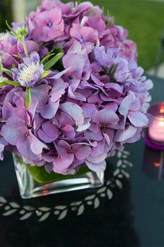 Purple wedding ideas, LOVE the flowers! Modern Wedding Flowers, Purple Wedding Flowers, Wedding Colors, Beautiful Flowers, Yellow Wedding, Flower Centerpieces, Wedding Centerpieces, Wedding Decorations, Centrepieces