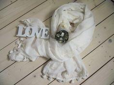 NEU Tuch Schal mit Fransen beige natur bestickt 90 x 180 cm Baumwolle/Viskose