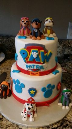 Paw patrol cake, Except don't want 2 layers just want one! Paw Patrol Cake, Paw Patrol Birthday Cake, 2 Birthday Cake, Paw Patrol Party, Boy Birthday Parties, 4th Birthday, Birthday Ideas, Cupcakes, Cupcake Cakes