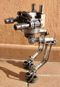 Metal Art Projects, Welding Projects, Metal Crafts, Recycled Robot, Metal Robot, Sculpture Metal, Metal Figurines, Arte Robot, Metal Bending