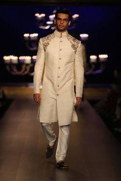 Manish Malhotra at India Couture Week 2014 - cream structured men's sherwani