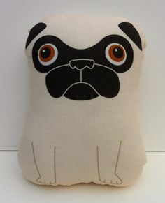 Tricky large fawn pug stuffed toy by mrwalters on Etsy