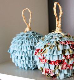 DIY Ruffled Fabric Ball Christmas Ornaments
