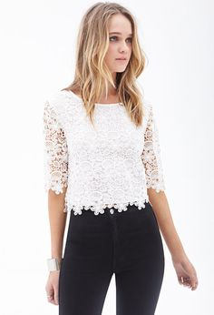FOREVER 21 Floral Crochet Crop Top is on sale now for - 25 % !