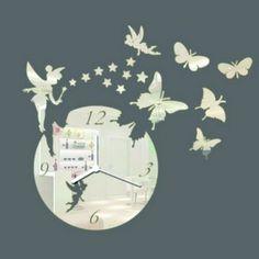 Design nástenné hodiny motýľ , zrkadlové . 3d Wall Clock, Decor, Dekoration, Decoration, Dekorasyon, Home Improvements, Decorating, Interiors, Embellishments