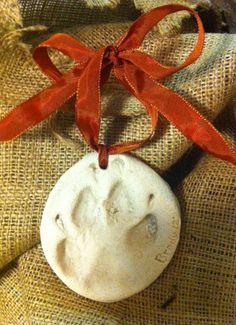 Homemade salt dough dog print ornament
