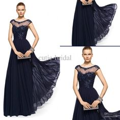 Discount Hot Sale Online Sheer Scoop Neckline Capped Sleeves Lace Top A-line Chffion Dark Navy Mother's Evening Dress Floor Length Cheap Dresses Online with $121.59/Piece | DHgate