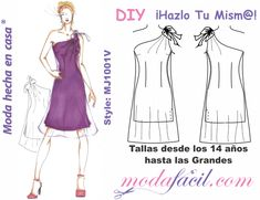Patrones gratis - Modafacil Doll Clothes Patterns, Clothing Patterns, Dress Patterns, Sewing Patterns, Easy Face Masks, Diy Face Mask, Sewing Projects, Barbie, Shoulder Dress