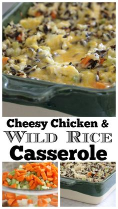 Sharing our favorite chicken and rice casserole today! Wait until you try this fabulous Cheesy Chicken and Wild Rice Casserole. Wild Rice Recipes, Chicken Rice Recipes, Chicken And Brown Rice, Yummy Recipes, Yummy Food, Cheesy Chicken Rice Casserole, Enchilada Casserole Beef, Casserole Recipes, Hamburger Casserole