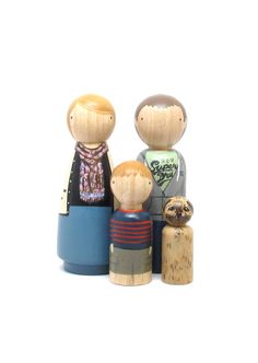 Custom Family of 4 HandPainted Wooden Peg Dolls  by goosegrease, $160.00