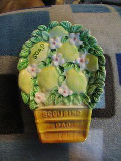 Lefton China Lemon Basket Scouring Pad/Soap  by FoundTreasures77