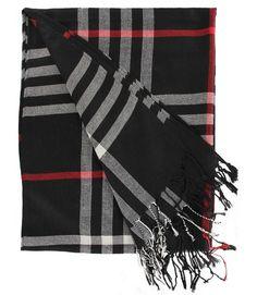 #Fashion #Plaid #Tartan Stripe Black #Cashmere Warm Fringe Long #Scarf #Shawl #Wrap in Black
