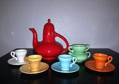 California Pottery Gladding McBean El Patio after dinner coffee set Vintage Pottery, Vintage Ceramic, Art Nouveau, Vintage California, Kitchen Ware, Deco Furniture, Coffee Set, Patio Table, Tea Sets