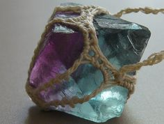Cubic Fluorite Crocheted Necklace  PURPLE and by TheTreeFolkHollow, $38.00