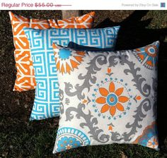 2 Day SALE Orange and Teal pillow Set of Three Orange and Aqua Pillow Blue and Orange Pillow 20x20 Inches. $49.50, via Etsy.