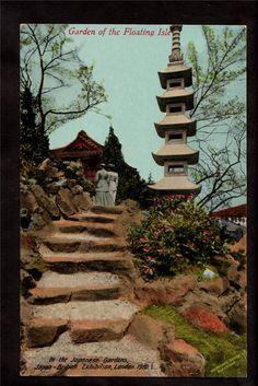 1910 Pagoda Garden Japan British Exhibition London UK Exposition Postcard