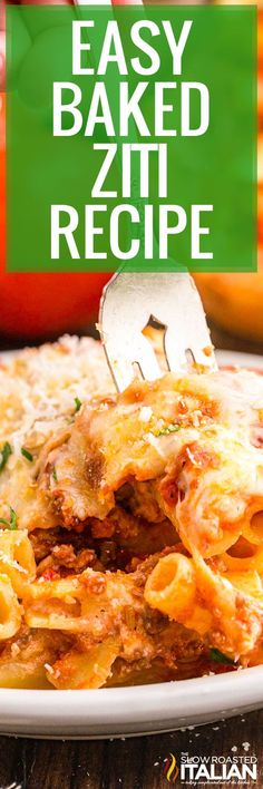 This easy baked ziti combines hot Italian sausage, fire-roasted tomatoes, pasta and lots of gooey cheese to give you the ultimate comforting dish! Recipes Using Pork, Real Food Recipes, Easy Pasta Recipes, Noodle Recipes, Easy Baked Ziti, Best Pasta Dishes, Breakfast Recipes, Dinner Recipes, The Slow Roasted Italian