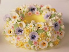 Bundt cake decorated with sugar flowers
