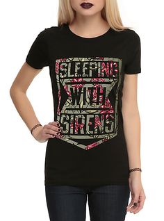 Sleeping With Sirens Floral Shield Logo Girls T-Shirt | Hot Topic