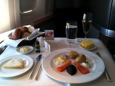 First Class food on a Cathay Pacific flight - caviar included