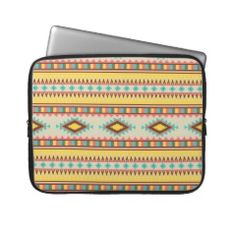 Colorful Aztec Tribal Native American Diamonds Laptop Sleeves #SOLD on #Zazzle