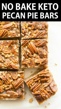 Keto Pecan Pie Bars Recipe made with an almond flour shortbread crust, topped wi. - Keto Pecan Pie Bars Recipe made with an almond flour shortbread crust, topped with gooey candied pe - Paleo Recipes, Low Carb Recipes, Paleo Food, Recipes Dinner, Cheap Recipes, Dessert Recipes, Paleo Diet, Paleo Meals, Flour Recipes