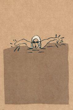 swimmer #1, original screenprint, edition of 12 by kocush on Etsy https://www.etsy.com/listing/209216670/swimmer-1-original-screenprint-edition