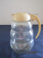 Vintage Art Deco Glass Syrup Honey Jar Pitcher Beige Bakelite? Lid Top Dripcut $1.00