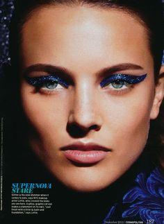 Beauty editorial in Cosmopolitan magazine, December2012 with makeup byLottie.