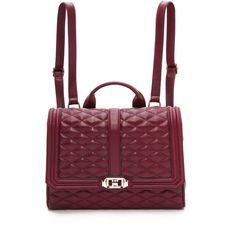 Rebecca Minkoff Love Backpack - Burgundy (5.958.490 VND) ❤ liked on Polyvore featuring bags, backpacks, buckle backpacks, quilted leather backpack, real leather backpack, leather daypack and red leather backpack
