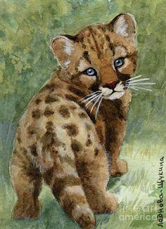 Cougar Cub Aceo Painting - Cougar Cub Aceo Fine Art Print