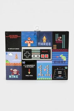 We love throwbacks and these socks are definitely that! With the twelve-day Nintendo sock advent calendar, your past is now your reality! All of these socks come in the no-show ankle style, perfect to slip on while playing some Nintendo! Make sure you pick up the youth version too!  DETAILS • Men's 12 day sock advent calendar • All socks are different Nintendo prints • Ankle style socks included • Fits sock sizes 10 - 13 • Fits shoe sizes 6.5 - 12