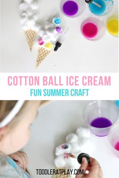 This Cotton Ball Ice Cream craft is so fun, easy to prep and PERFECT FOR SUMMER! Create a unique painting experience for your little ones using droppers and cotton balls! You'll be surprised how quick it is to prep too! Preschool Art Projects, Craft Projects For Adults, Craft Activities For Kids, Preschool Crafts, Kids Crafts, Creative Crafts, Easy Crafts, Preschool Science, Classroom Crafts